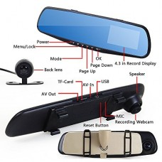 "HD 4.3""LCD Dual Lens Dash Cam DVR 3 In 1 Rear view Mirror Front Cam and Rear view Camera"